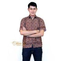jual hem batik baju batik pria eBatik Hem Batik Trusmi NG Cokelat