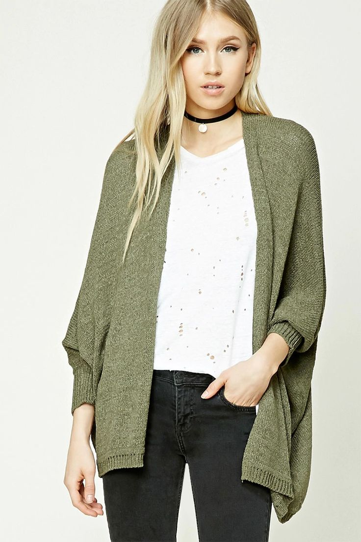 A midweight open-knit cardigan featuring long dolman sleeves, a longline silhouette, an open front, and ribbed trim.