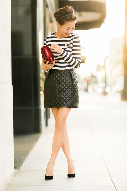 Textured Patterns :: Cut-out cropped top & Quilted skirt - Wendys Lookbook