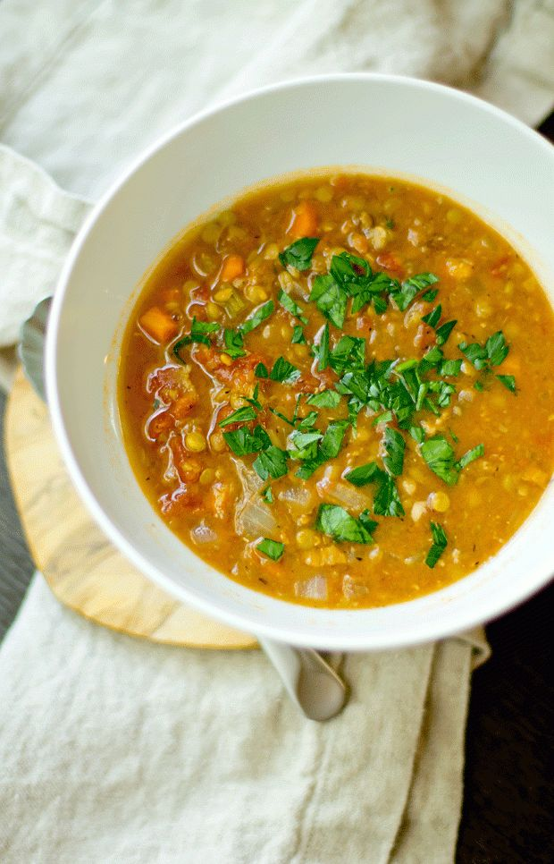 Rich and creamy french lentil soup with bacon. So comforting.