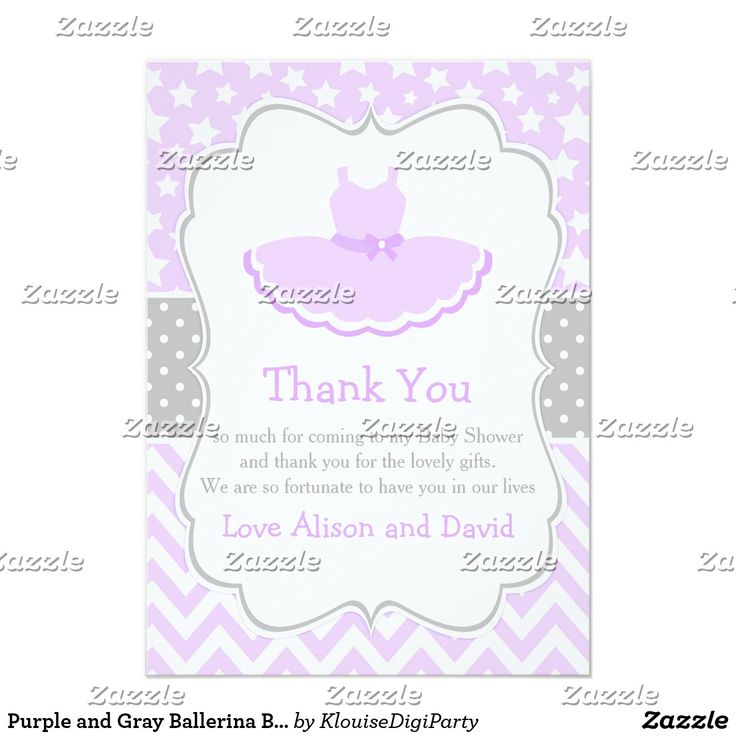 Purple and Gray Ballerina Baby Shower Thank You Card