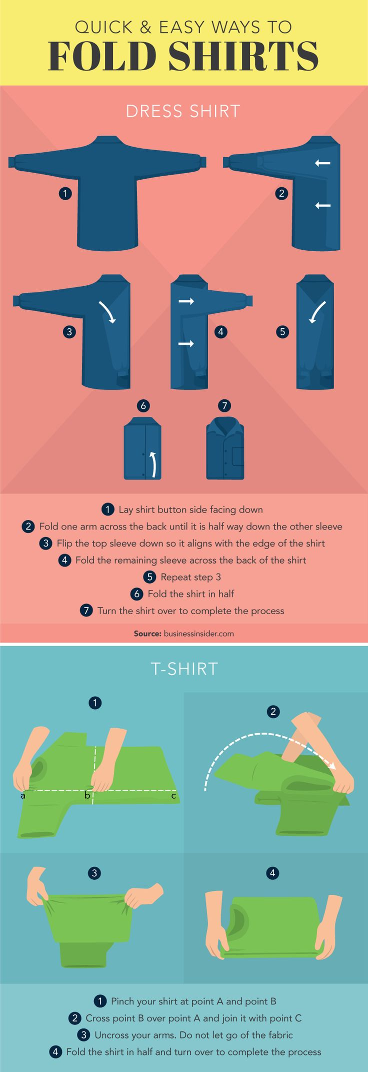 The 25 best fold shirts ideas on pinterest fold clothes easy ways to fold shirt organize your closet pooptronica
