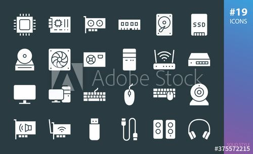 Pc Hardware Solid Icon Set In 2020 Computer Cpu Pc System Sound Card