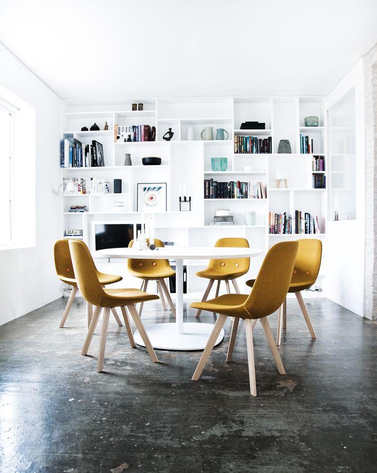 Danish design: The Eyes Wood chair designed by Johannes Foersom Peter Hiort-Lorenzen in 2011 for Erik Jorgensen. Danish craftsmanship in new colors. Legs in oak wood.