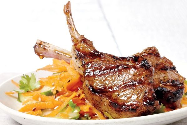 Soy Lamb Chops With Carrot Salad