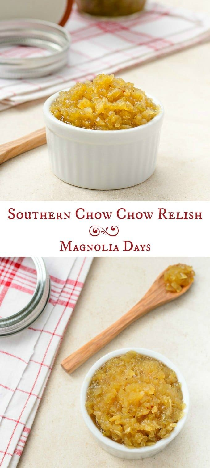 Chow Chow is a classic southern relish made with green tomatoes, onions, cabbage, and peppers. Make it and use it as a topping for seafood, beans, hot dogs, and more. via @magnolia_days