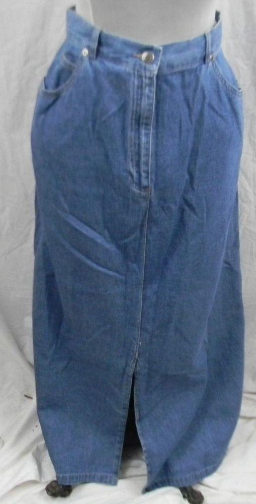Emma James Blue Jean Skirt Womens 14 Mid Calf Length 100% Cotton Front Slit  #EmmaJames #StraightPencil
