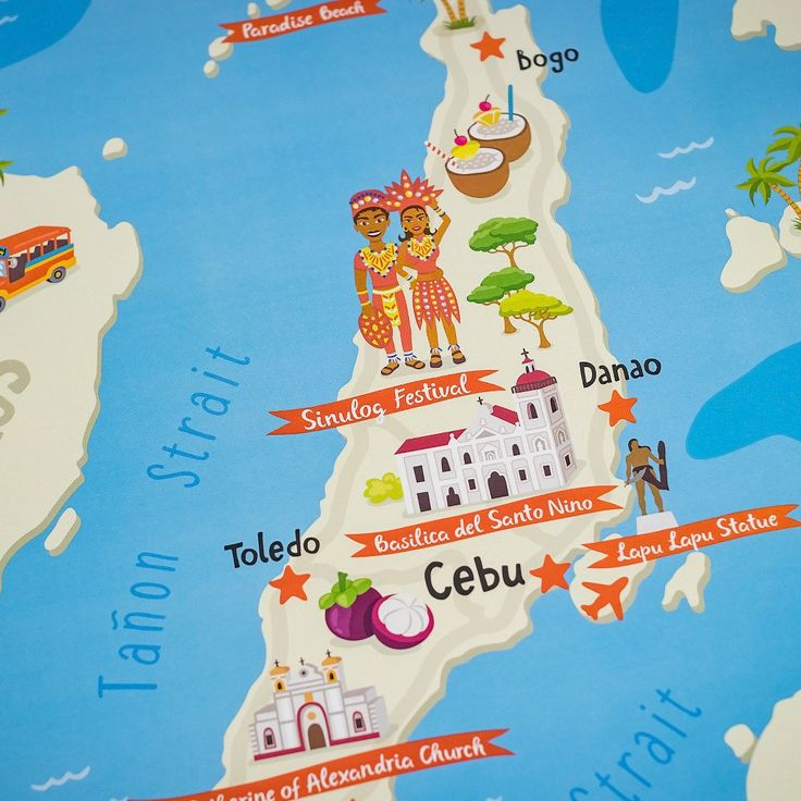 Cebu Illustrated Map Poster in 2019 | Philippine Wall Art ...