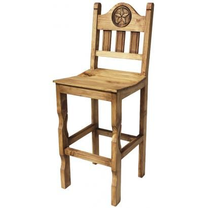 The very affordable rustic pueblo star bar stool will add Southwestern flare to any part of your home. Each bar stool features a large carved star on both the front and back and is meant to be used at a tall table or bar.  The front legs feature a carved look and the seat is curved for additional comfort.  You'll appreciate the sturdy handmade craftsmanship of this piece of southwestern furniture.  The height to the seat is 30 inches.  Handmade in Mexico.