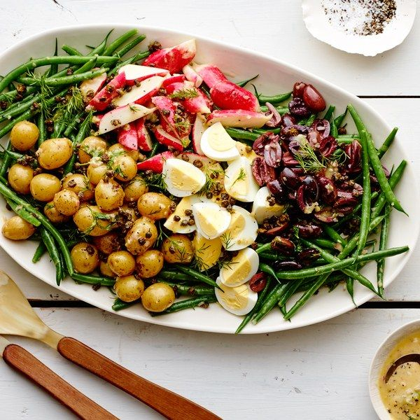 This vegetarian version of the classic French salad is brimming with bright spring vegetables, a lemony Dijon dressing, and tangy fried capers.