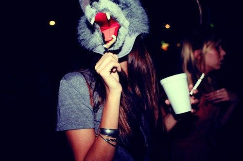 cigarettes, drink, girl, mask, party, wolf