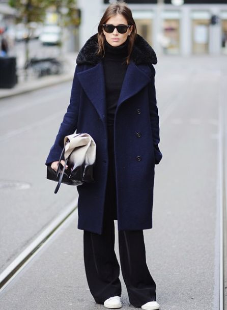 oversized navy coat, wide leg pants & sneakers #style #fashion