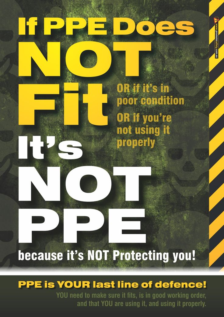 A3 size Workplace Safety Poster reminding workers of the need to ensure their PPE fits properly, is in good condition, and that they use it properly.