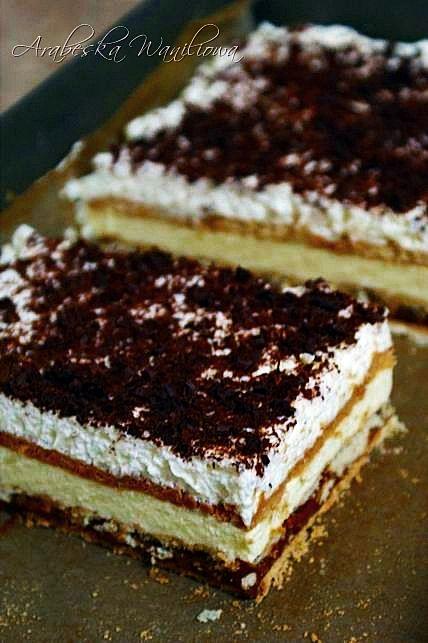 Pyszne ciasto deserowe, nie wymagające pieczenia. Samo przygotowanie nie zabiera dużo czasu, tylko oczekiwanie, a wiem z doświadczenia...