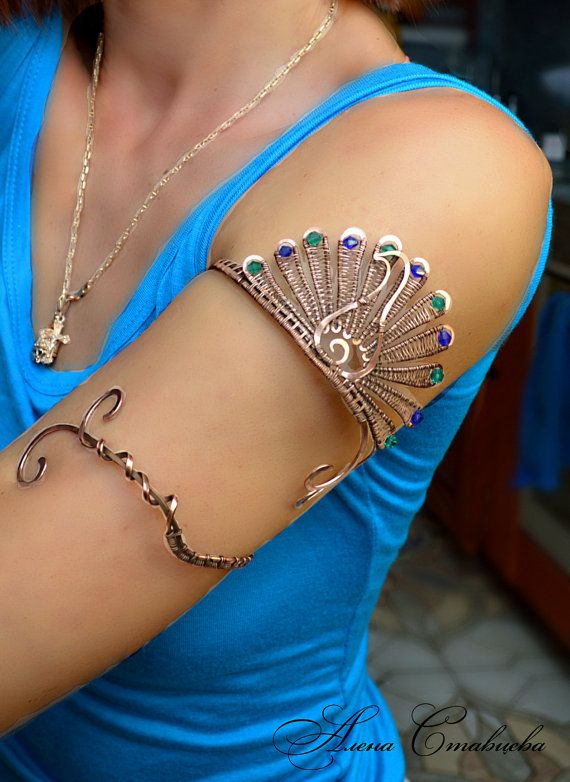 Upper arm bracelet  Peacock bird Jewelry arm by AlenaStavtseva