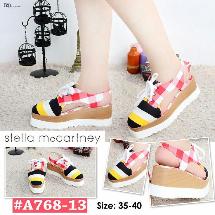 Sepatu Wedges Stella McCartney Summer YC768-13 Wedges 7cm (1warna) 35 - 40 + Box Stella Bahan Kulit lapis kain Canvas  415rb