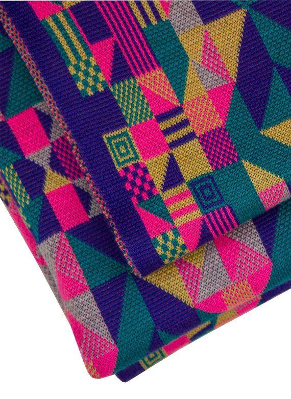 Geometric Blanket Knitting Pattern : Luxury machine knitted geometric design merino pram/buggy blanket in fluoro c...