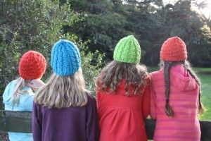 Family beanies made in 12ply yarn from Countrywide.
