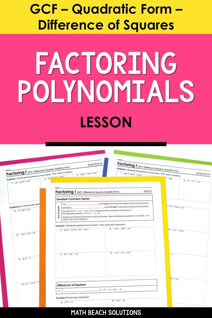 Factoring I Lesson Algebra Lesson Plans Quadratics Algebra Lessons