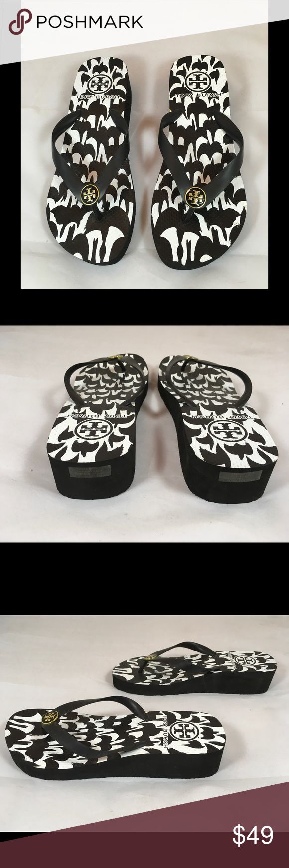 "Tory Burch Black and White Wedge Flip Flops/Sandal Black and white wedge flip flop/sandal Heel height 1.5"" Gold-tone hardware. Tory Burch Shoes Sandals"