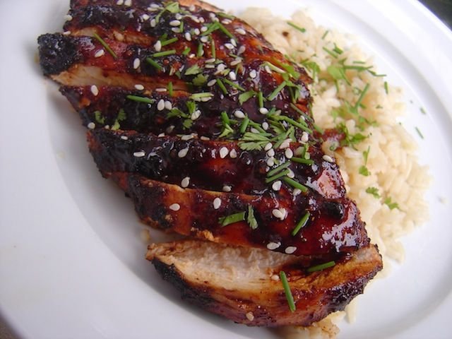 Chipotle Honey Glazed Grilled Chicken from Bobby Flay's Grill It book.  I pinned another recipe like this, but this one added chives and sesame seeds.