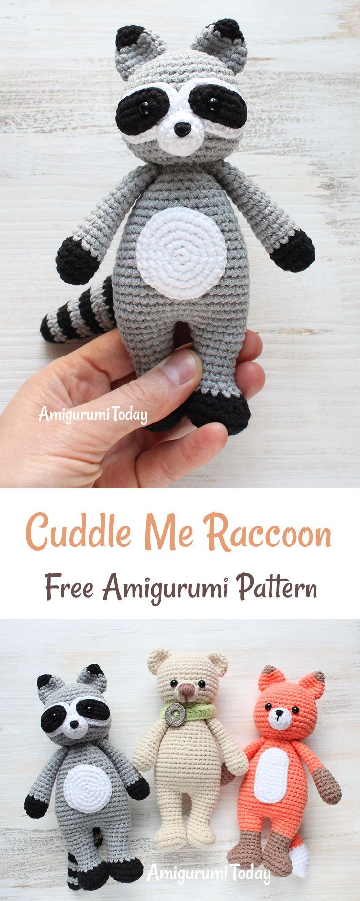 Free amigurumi pattern! This crochet raccoon with cute sly eyes will steal the heart of any child. It has a perfect size and softness for endless cuddles!