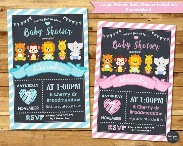 Jungle Animals / Safari Baby Shower Personalised Invitations - Digital or Printed - Ship Worldwide.  www.lollipoppartysupplies.com.au