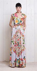 Vestido Longo Cesta de Flores