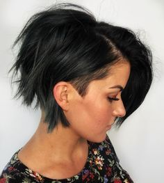 Angled Undercut ---- This hairstyle doesn't make you want to speak to the manager, because you are the manager. People with fine hair love this look, because it makes it easy to add volume and edge to your hair. The undercut peeks out subtly beneath a bold black, and a thick bang frames the face.