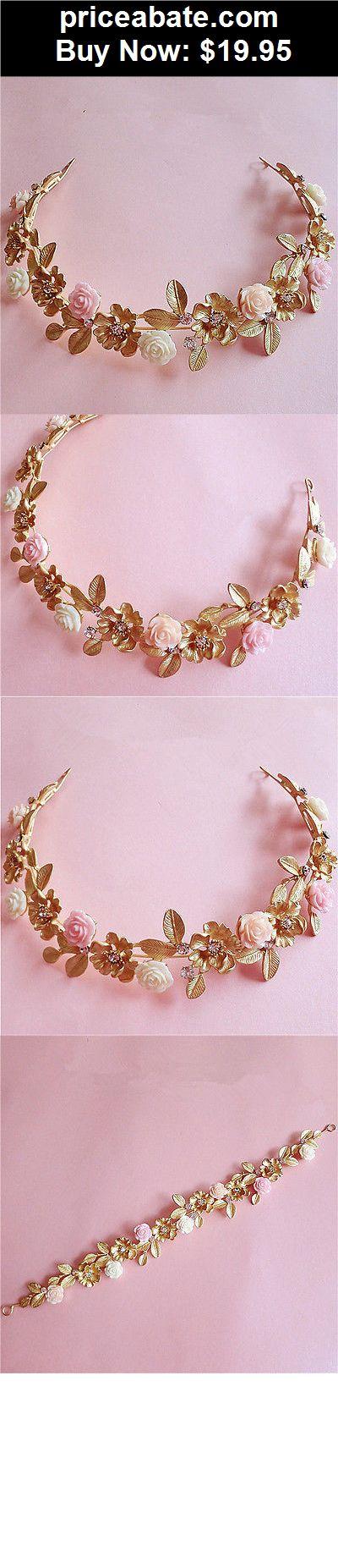 Bridal-Accessories: Wedding Bridal Crystal Rhinestone Flower Gold Headband Hair Accessories Tiara - BUY IT NOW ONLY $19.95