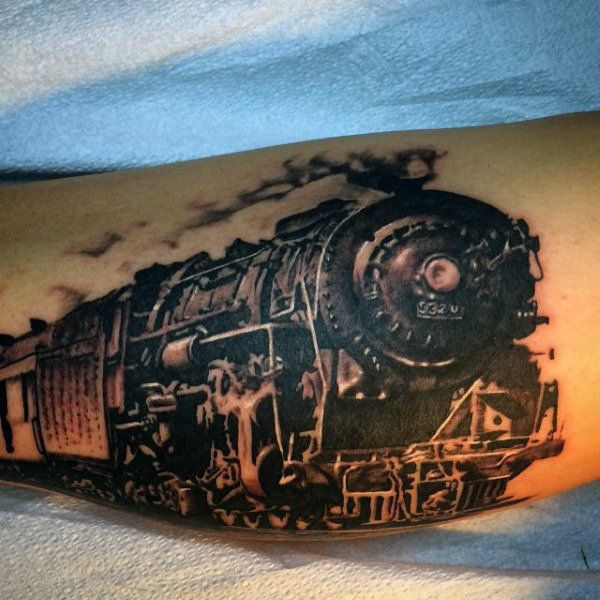 70 train tattoos for men masculine railroad designs pinterest. Black Bedroom Furniture Sets. Home Design Ideas