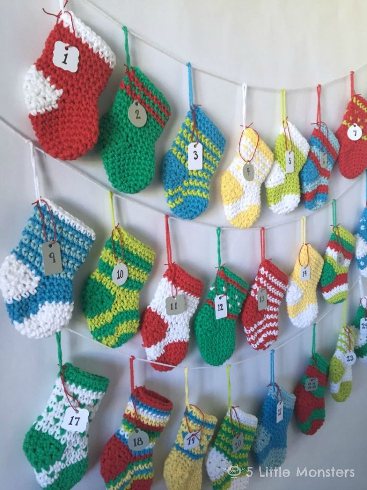 5 Little Monsters: Crocheted Stocking Advent Calendar - Free stocking pattern.