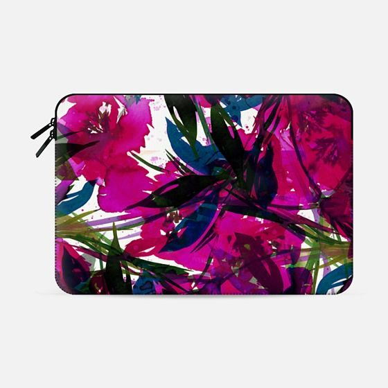 """FLORAL FIESTA, MAGENTA PINK"" by Artist Julia Di Sano, Ebi Emporium on @casetify Colorful Spring Summer Watercolor Flowers Painting Art Abstract Whimsical Tropical Garden Botanical Lovely Fuchsia Blue Brushstrokes Chic Leaves Petals #magenta #hotpink #fuchsia #summer #tropical #floral #flowers #macbook #macbookcase #macbooksleeve #macbookpro #proretina #macbookair #Casetify #tech"