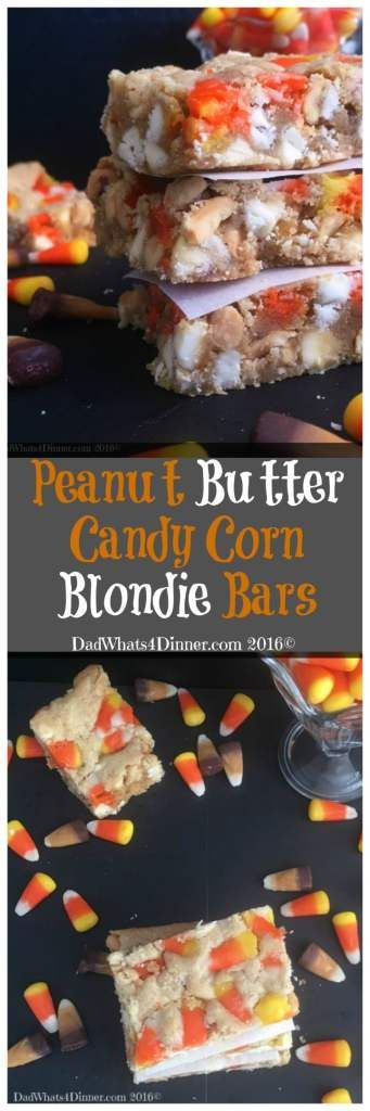If you are craving a PayDay Candy Bar then you will love my Peanut Butter Candy Corn Blondie Bars. Great way to use up leftover Halloween candy. #recipe #candy#desserts #bars #blondies #halloween #candycorn