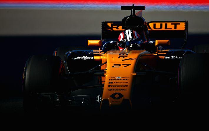 Télécharger fonds d'écran Nico Hulkenberg, 4k, Formula One, F1, en 2017, cars, voitures de Formule 1, Renault Sport F1 Team