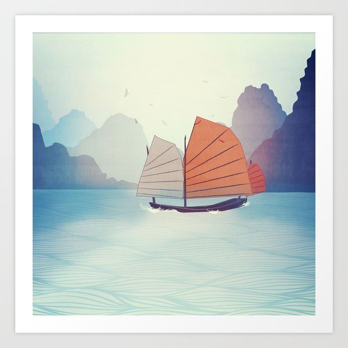 Chinese Boat on the water Art Print