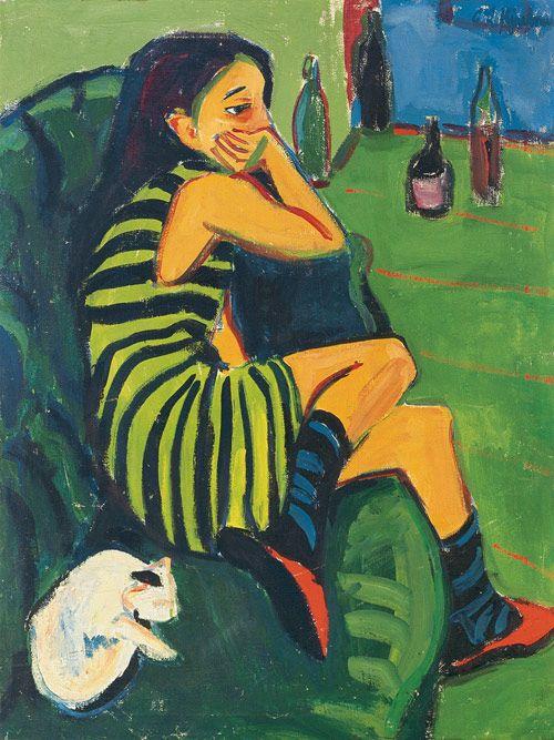 ✔️ Ernst Ludwig Kirchner (1880-1938), Artiste; Marcella, 1910, Oil on canvas, 101 x 76 cm, Brücke-Museum, Berlin.