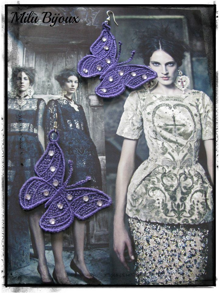 Lace butterfly earrings with strass