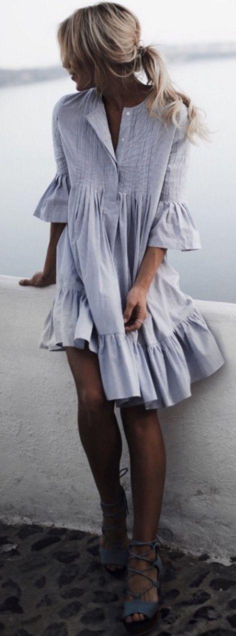 #summer #trendy #outfitideas Grey Flouncy Dress