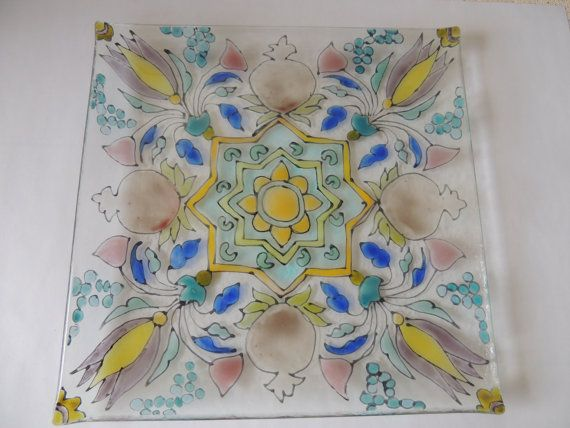 hand painted fused glass plate fused glass by Homeforglasslovers, $30.00