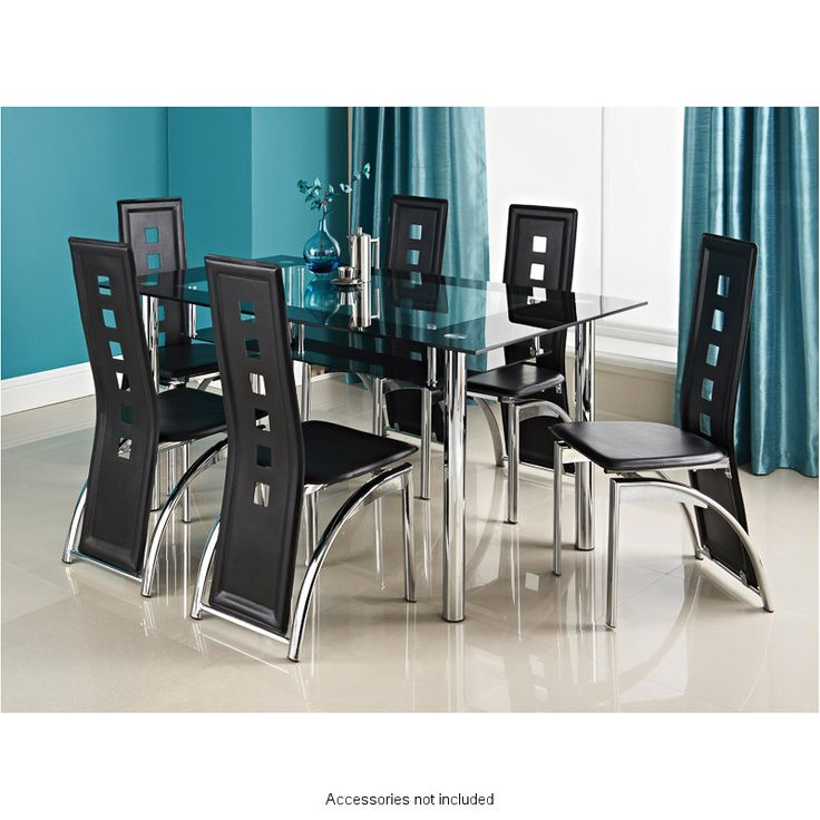 Nice This Stylish Phoenix Seven Piece Contemporary Chrome And Glass Table With  Stylish Black Faux Leather Chairs Will Create A Modern Feel To Your Dining  Area. Nice Design