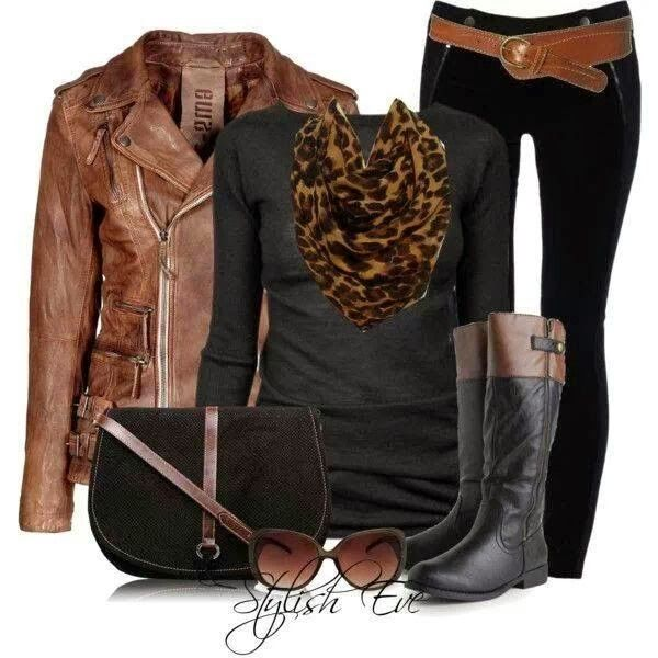 Stylish brown leather jacket, black blouse, cheetah scarf, belt and skinnies with long boots Fun and Fashion Blog