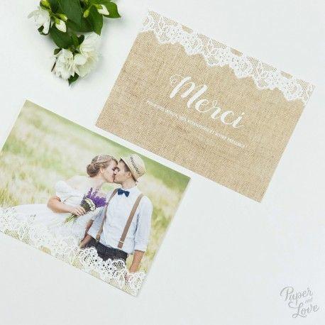 """Wedding thank you card - """"Lace and linen"""", rural - Paper and Love - www.paperandlove.be __ Carte de remerciements de mariage - """"Dentelle et Lin"""", champêtre, rustique - Paper and Love - www.paperandlove.be"""