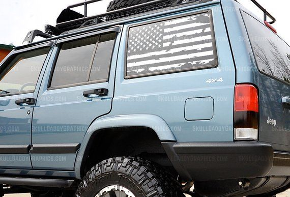 Xj U S A Distressed Window Flags To Fit Jeep Cherokee 1987 2001