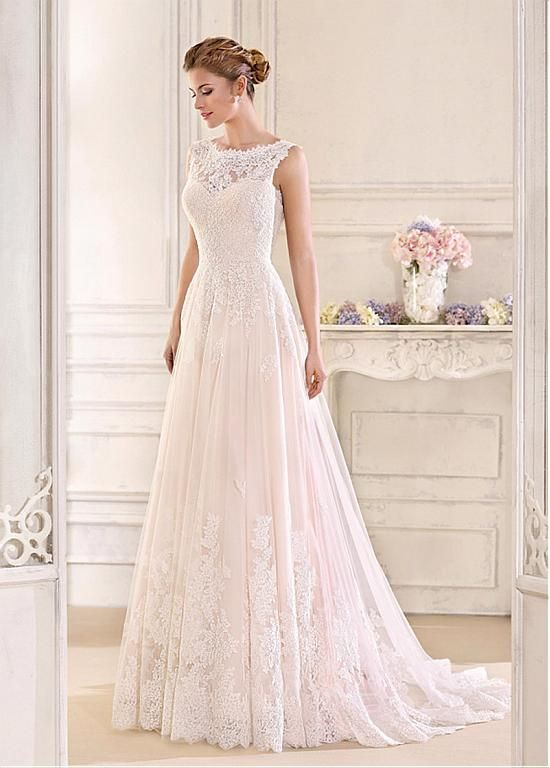 Magbridal Romantic Tulle & Satin Bateau Neckline A-Line Wedding Dresses With Lace Appliques