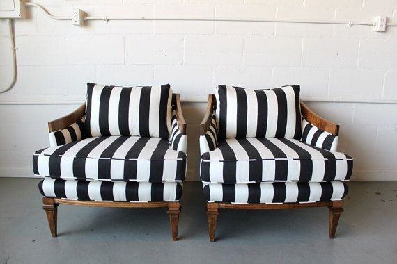 Striped pair of armchairs. How could you not feel like a queen in one of these?! Love the graphic print on the classic profile of the chair.Decor, Modern Home Design, Black And White, Design Interiors, Interiors Design, Upholstered Chairs, Stripes Chairs, Accent Chairs, Modern House