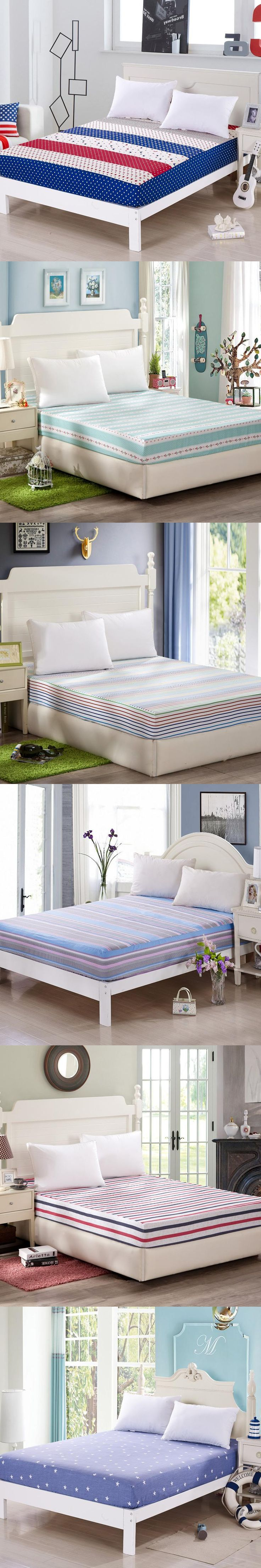 Moon Star Stripes Fitted Sheet High Quality 100%Cotton Bed Sheet Elastic Mattress Cover 120x200cm/150x200cm/180x200cm Multi-size