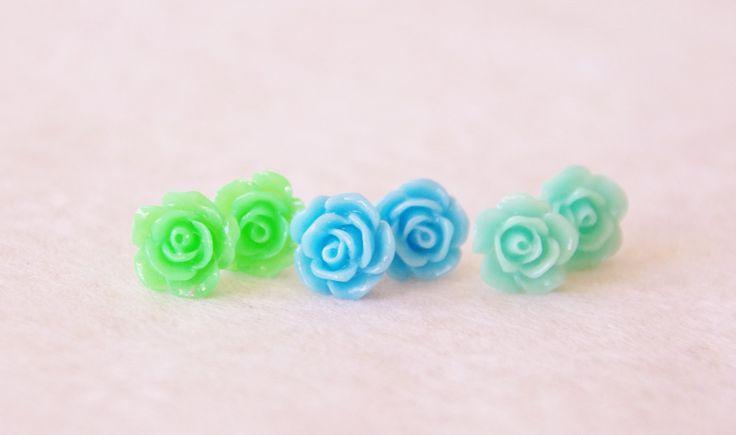 Ombre Earring Set / Tiny Rose Earrings / Small Green Flower Studs / Minty Teal Blue Flower Stud Earrings / Bridesmaid Earrings / Set of 3 by SmittenKittenKendall on Etsy