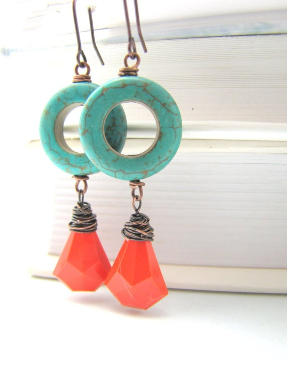 Vintage orange Lucite and Turquoise Aqua Blue by LuzDesigns