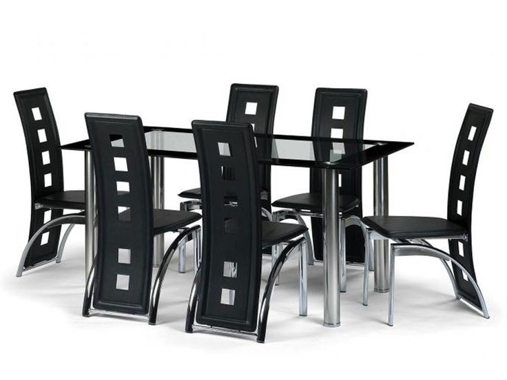 Silverplus Glass Top Black Dining Set